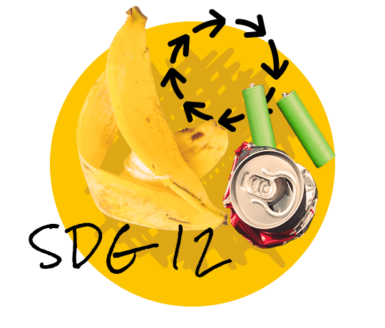Decoration picture: A banana peel, batteries and an empty cola can, the lettering SDG 12 and a recycling symbol on yellow background.