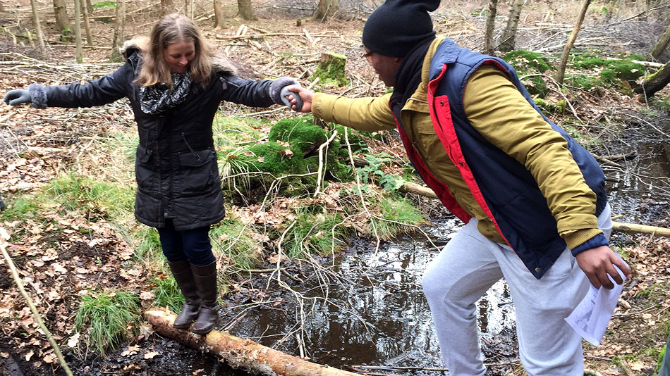 A volunteer standing on a tree trunk across a stream in a forest. A second volunteer holds out his hand to help the first volunteer cross the stream.