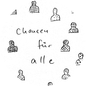 "The phrase ""Chancen für alle"" (Opportunities for everyone), surrounded by drawings of heads in different shades."
