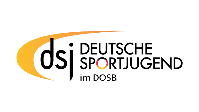 "The abbreviation ""dsj"" and the organisation's full name, framed by an arc to the left."